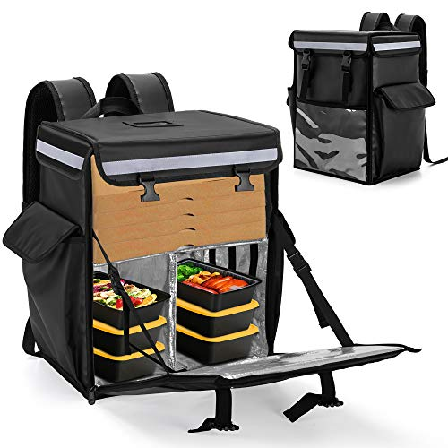 Trunab Insulated Food Delivery Backpack with 2 Side Support Boards and Adjustable Inner Dividers, Top & Front Loading Waterproof Delivery Bag for Bike Delivery, Uber Eats, Outdoor - Patented Design