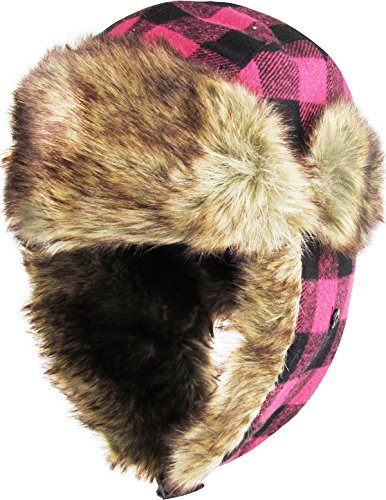 KBW-604 HPK-BLK Buffalo Plaid Aviator Trooper Trapper Hat Winter Cap