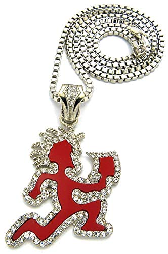 GWOOD Juggalo with Cleaver Pendant Box Link Necklace Silver Color with Red Enamel (Silver Color with RED)