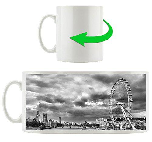 Monocrome, grande roue, le London Eye, Motif tasse en blanc 300ml céramique, Grande idée de cadeau pour toute occasion. Votre nouvelle tasse préférée pour le café, le thé et des boissons chaudes