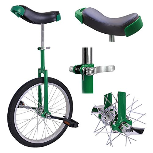20 Inches Wheel Skid Proof Tread Pattern Unicycle Green Color with Adjustable Seat Height Mountain Tire for Street Road Bike Cycling Sports Unisex Adults Uni-Cycle