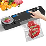 2021 Upgraded Food Saver Vacuum Sealer Machine - WHISHINE Automatic Food Sealers Vacuum Packing Machine with Kitchen Scale & Cutter - Starter Kit with 10 Vacuum Sealer Bags - Dry & Moist Food Modes