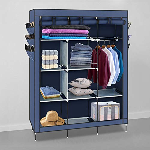 POCREATION 69inch Portable Closet Organizer Wardrobe,Clothes Closet Shelves with Non-Woven Fabric Waterproof Sturdy Storage Organizer Bedroom Hanging Closet Wardrobe Closet,Quick and Easy to Assemble