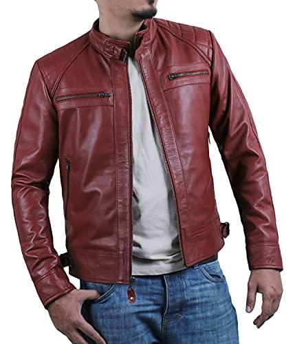 Laverapelle Men's Genuine Lambskin Leather Jacket (Maroon, Large, Polyester Lining) - 1501344