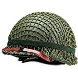 Haplws Imitación WW2 US M1 Casco Militar de Acero Tactical Protective Dual Layer Steel + ABS Casco con Cubierta de Red Film Prop Green