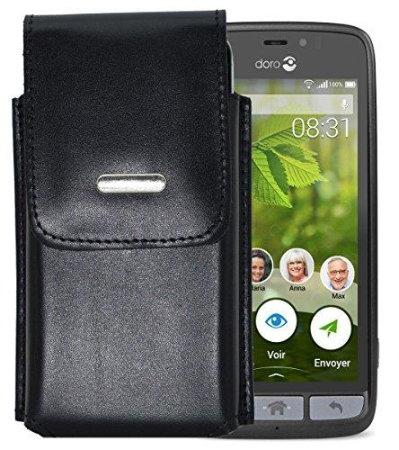 Vertikal Etui für Doro 8031 | Doro 8031C - Köcher Tasche Hülle Ledertasche Vertical Hülle Handytasche mit einer Gürtelschlaufe auf der Rückseite