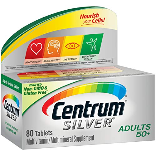 Centrum Silver Multivitamin for Adults 50 Plus, Multivitamin/Multimineral Supplement with Vitamin D3, B Vitamins, Calcium and Antioxidants - 80 Count