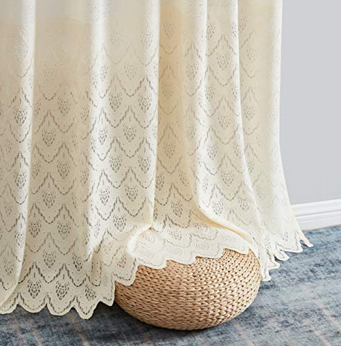 HLC.ME Monaco Premium Soft Decorative Ombre Lace Semi Sheer Light Filtering Rod Pocket Window Treatment Curtain Drapery Panels for Bedroom & Living Room - Set of 2 Panels (54 x 84 inches Long, Beige)