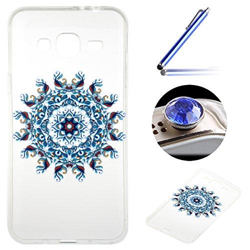 Samsung Galaxy J3(2016) Coque, Etsue pour Samsung Galaxy J3(2016) Vogue Gel Housse étui de téléphone mobile ,TPU Silicone Matériau Transparente Ultra Mince Supérieur Semi Transparent Doux Coque [Totem Bleu] Motif pour Samsung Galaxy J3(2016) + Gratuit 1 x Bleu stylet + 1 x Bling poussière plug (couleurs aléatoires)