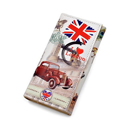 Premium US UK Flag City Print PU Leather Continental...
