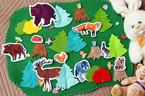Wildes Tier Spielmatte Spiellandschaft für Kinder Magnetspielzeug Montessori Waldorf Lernspiel Zoo Filz Rollenspiel