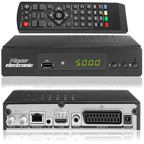 Microelectronic M380 Plus Full HDTV digitale satellietontvanger met HDMI-kabel (HDTV, DVB-S2, HDMI, Scart, LAN, USB 2.0, Full HD 1080P) [voorgeprogrammeerd] - zwart ohne HDMI Kabel M380plus