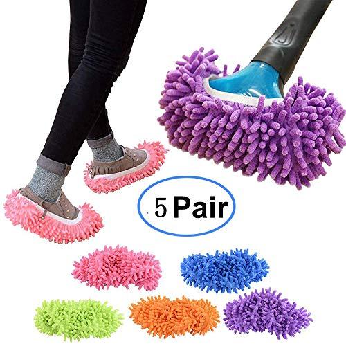 Cali Jade 5 Paare Multifunktionsstaub-Staub-Staub-Mopp-Pantoffel-Schuh-Abdeckung, weiche waschbare Wiederverwendbare Mikrofaser-Fuß-Socken-Boden-Reinigungs-Werkzeug-Schuh-Abdeckung