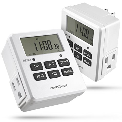FosPower Timers for Electrical Outlets [ETL Listed] 125V/15A LCD Digital