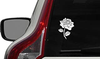 Flower Rose Version 6 Car Vinyl Sticker Decal Bumper Sticker for Auto Cars Trucks Windshield Custom Walls Windows Ipad Macbook Laptop and More (WHITE)
