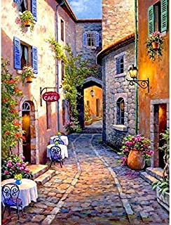 DIY 5D Diamond Painting Kits for Adults Full Drill, Paintings Pictures Arts Craft for Home Wall Decor,5D Painting Diamonds Kit Street(11.8 x 15.8 in) (Street)