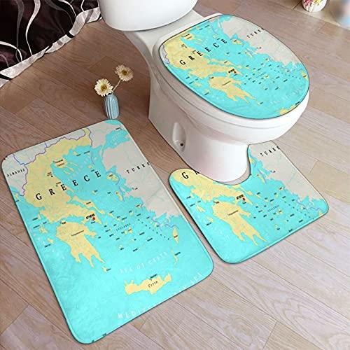 3-teiliges Badteppich-Set ,Politische Karte Griechenlands, rutschfeste Badmatte, Konturteppich, Abdeckunterlage, für Badewanne, Dusche und Bad.