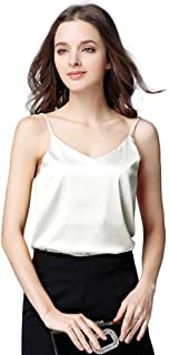 Sexy Women's Silk Tank Top Ladies Camisole Silky Loose Sleeveless Blouse Tank Shirt with Soft Satin
