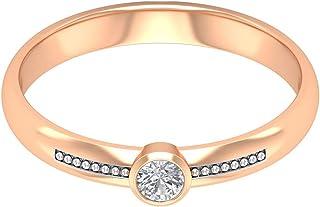 Anillo de compromiso de 3 mm con bisel de moissanita de 1/3 quilates, anillo de compromiso de oro grabado, regalo de anive...