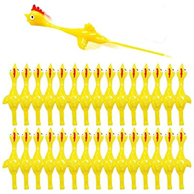 Slingshot Chicken Rubber Chicken Flick Chicken Flying Chicken Flingers Stress Gag Toys, Rubber Chicken Slingshot Funny Christmas Stuffers Easter Chicks Novelty Gifts for Kids Teens (Yellow 30 Pcs) by Namii W