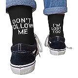 Kylewo Unisex Brief gedruckt lustige Socken Baumwolle Strümpfe Don't Follow ME/I'm Lost Too für Business, Sports, Freizeit, Täglicher Gebrauch