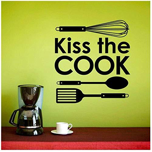 Gepersonaliseerde Slogan Kus De Kok, Keukengerei Icoon Vinyl Sticker Keuken Restaurant Home Decor Muursticker57X63Cm