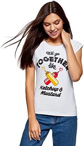 oodji Ultra Mujer Camiseta de Algodón con Estampado