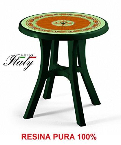 ALTIGASI Table Vert avec Plan mosaïque pour extérieur modèle Pol Ø 70 cm en résine Mesure 80 x 80 cm – avec 4 Pieds réglables – Fabriqué en Italie