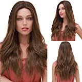 BLONDE UNICORN Long Wavy Synthetic Lace Front Hair with Ombre Brown Middle Part hair wig for Women