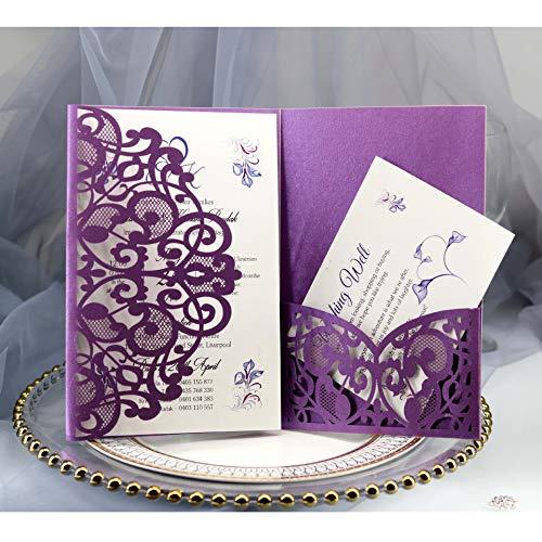 BLUGUL 10 Stück Hochzeit Einladungskarten, Hochzeitskarten, Hollow Floral Design, mit 2 Blanko-Karte, Dunkelviolett