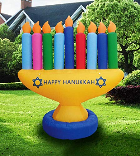 Zion Judaica Inflatable Lawn Hanukkah Menorah Indoor Outdoor Decoration with LED Night Glowing Lights - 7' Tall (Multi-Color)