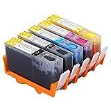 Ouguan 5 x 364 complet rechargeable cartouche d'encre pour HP Photosmart 5510 5520...