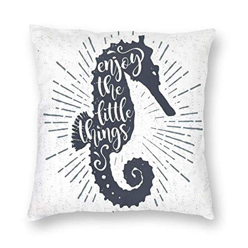 QUEMIN Cheap Seahorse with Uplifting Quote Starburst Inspired Lines 18x18inch Throw Pillow Covers Sofa Car Cushion Cover Home Decorative Pillowcase
