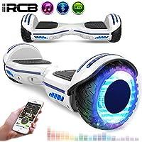 RCB Patinete Eléctrico Scooter de Auto-Equilibrio Luces LED Integradas Bluetooth Regalo para Niños y Adultos (Blanco)