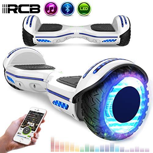 RCB Scooter Elettrico da 6,5 Pollici con LED Bluetooth su Ruote Brillante Auto bilanciamento 6.5\'\' Lampeggianti Bluetooth per Adulti e Bambini Regalo di Natale (Bianco)