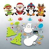 Baker Ross AT236 Bastelset mit Hüpffunktion (6 Stück) Festliches Basteln Kinder zu Weihnachten, Sortiert