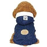 SEHOO ペット服セーター犬服秋冬加絨厚いドッグウェアパーカー小中型犬防寒(S、ブルー)