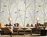 Papel Pintado Pared 3D Fotomurales Pájaro De Árboles Abstractos Mural Pared Pintado Papel Tapiz Salón Dormitorio Tv Fondo Decoración De Pared 150x105cm