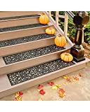Rubber Stair Treads - Set of 3 - 48 Inch Extra Wide Elegant Outdoor Black...