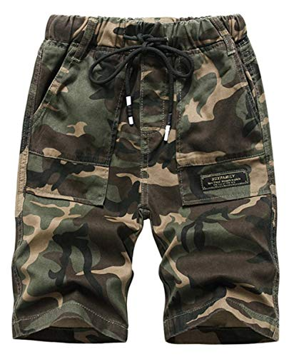 Idgreatim Kinder Camouflage Shorts Military Army Print Sport Camo Cargo Lässige knielange Hose Verstellbare Taillenshorts