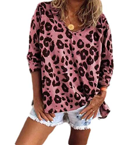 GRMO Women Loose Leopard Print Tops Long Sleeve V Neck T-Shirt Blouse Pink...