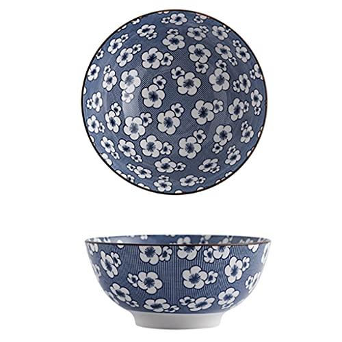 Juego de 2 cuencos de cereales, porcelana china azul y blanco, cuenco de ensalada de cerámica, para pasta/postre/arroz/ensalada/desayuno, tazón de helado/bocadillos aptos para lavavajillas