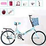 XIAOFEI Folding Bicycle Women'S Light Work Adult Adult Ultra Light Variable Speed Portable Adult 16/20 Inch Small Student Male Bicycle Folding Bicycle Bike Carrier,Blue,20IN