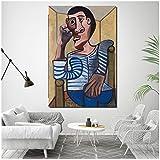 Toile encadrée Pablo Picasso autoportrait - Décoration murale abstraite - Cadre intérieur en bois - 50 x 75 cm