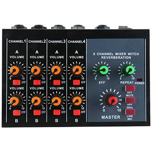 Mini 8 Channels Metal Mono Stereo Audio Sound Reverberation Mixer with Power Adapter Cable Low Noise