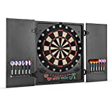 OneConcept Dartmaster 180 - Auto Darts, Electronic Targets, E-Darts, PC Game, 27 Games, 150 Variants, 8 Players Max, 9 Keys, LED Display, 12 Darts, Black