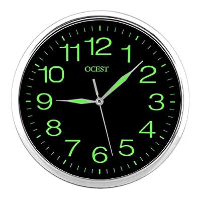 OCEST 12 Inch Wall Clock with Night Light Large Display Silent Non Ticking Quality Quartz Battery Operated Indoor Outdoor Decorative Clock for Home Kitchen Bathroom Office School Garage