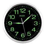 OCEST 12 Inch Wall Clock with Night Light Large Display Non Ticking Silent Quality Quartz Battery Operated Indoor Outdoor Decorative Clock for Bedroom Living Room Kitchen Office School Garage