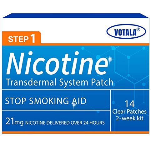 Votala Nature Nicotine Patches Step 1, Quit Smoking, 21mg Nicotine Delivered 24 Hours Transdermal System, Stop Smoking Aid, 14 Patches, 2-Week Kit, Step 1
