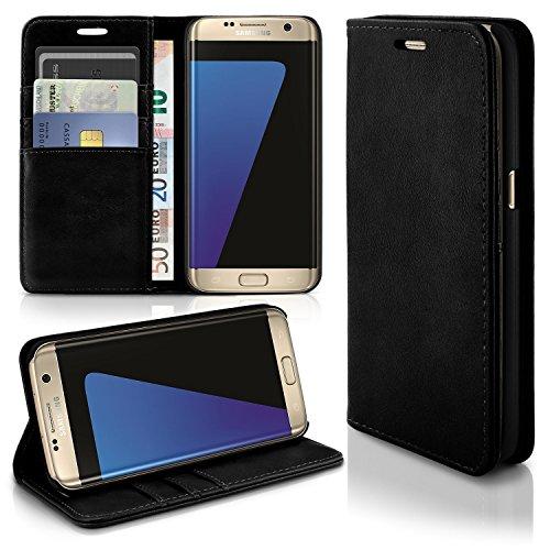 MoEx® Funda Tipo Cartera de Piel sintética con Atril - Compatible con Samsung Galaxy S7 Edge   Noir